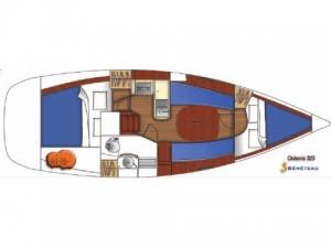 Layout Bare Boat Beneteau Oceanis Clipper 323