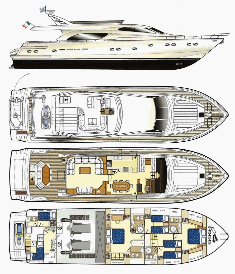 Luxury Yacht Ferretti 680 Layout