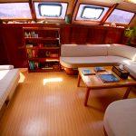 The spacious salon on this sailing catamaran