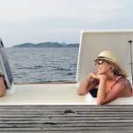 Catamaran charter - open hatches