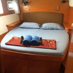 Starboard aft cabin of the Catamaran