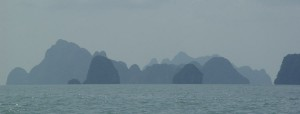 Island silhouettes when sailing the Phang Nga Bay in Thailand