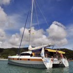 Sailing Catamaran on Anchor