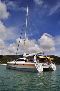 sail and dive catamaran Nautiness II on anchor